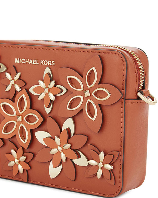 美国 Michael Kors迈克高仕 橙色女士真皮花朵配饰斜跨方包 32H6GFA-M5T-Orange