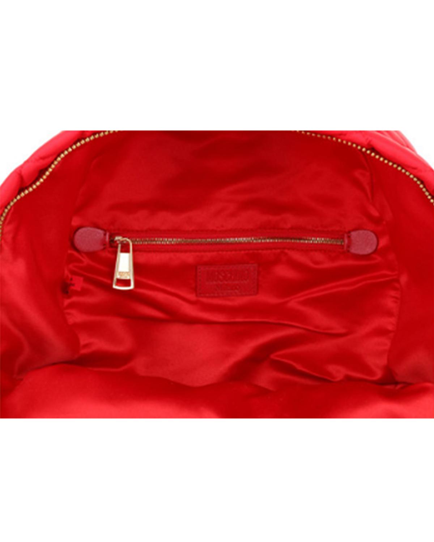 意大利MOSCHINO莫斯奇诺 红色尼龙字母logo菱格纹女士双肩包 B7608-8201-2115