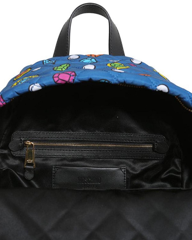 意大利MOSCHINO莫斯奇诺 蓝色尼龙卡通菱格纹拉链开合女士双肩包 B7613-8204-1309