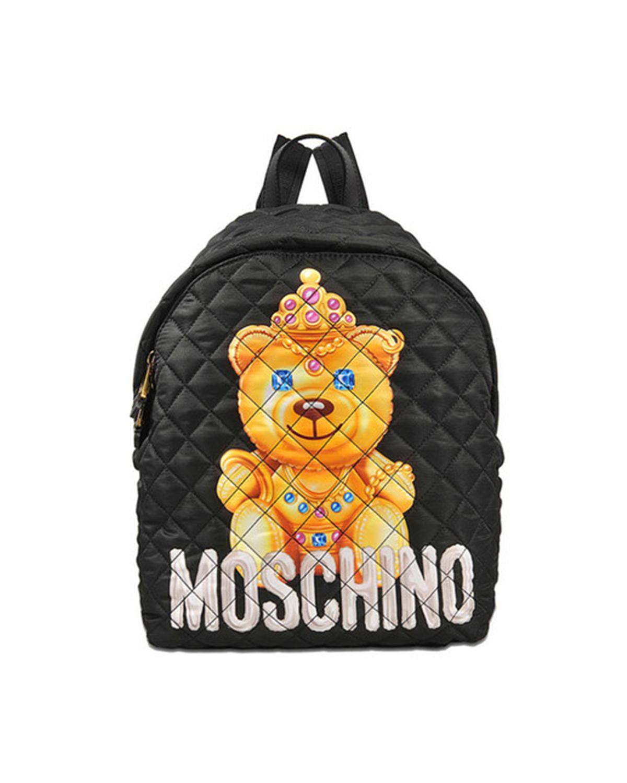 意大利MOSCHINO莫斯奇诺  黑色尼龙小熊印花菱格纹拉链开合女士双肩包  B7615-8205-1555