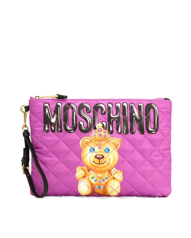 意大利MOSCHINO莫斯奇诺  粉红色尼龙小熊印花拉链开合女士手拿包 B8405-8205-1244