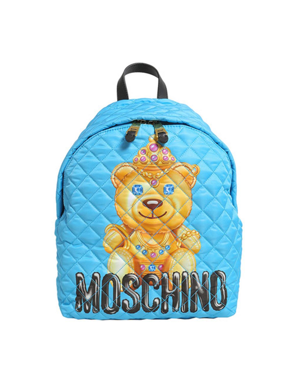 意大利MOSCHINO莫斯奇诺  蓝色尼龙小熊印花菱格纹拉链开合女士双肩包 B7615-8205-1341