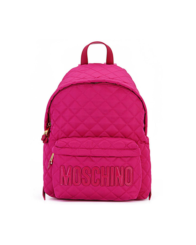 意大利MOSCHINO莫斯奇诺  玫红色尼龙字母logo菱格纹女士双肩包 B7609-8201-2234