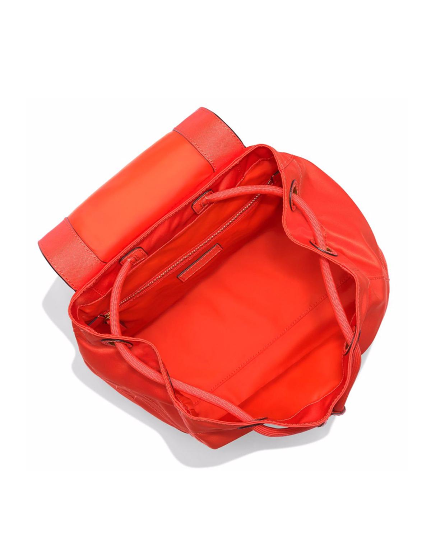 美国Tory Burch汤丽柏琦  橙色尼龙女士翻盖抽绳双肩包 35719-627