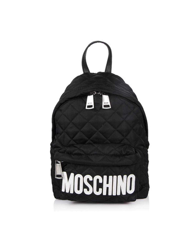 意大利MOSCHINO莫斯奇诺  黑色尼龙字母logo菱格纹女士双肩包 B7607-8201-4555