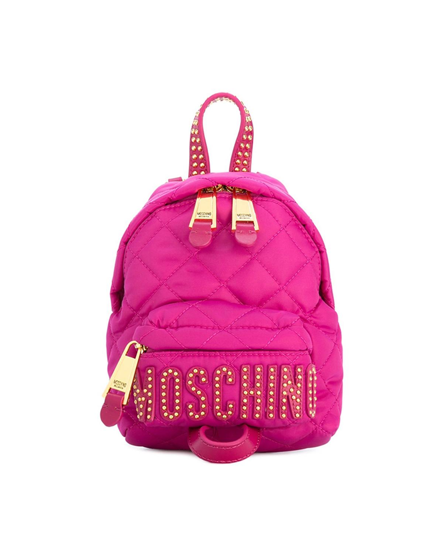 意大利MOSCHINO莫斯奇诺 桃红色尼龙铆钉菱格纹女士双肩包 B7611-8203-2234