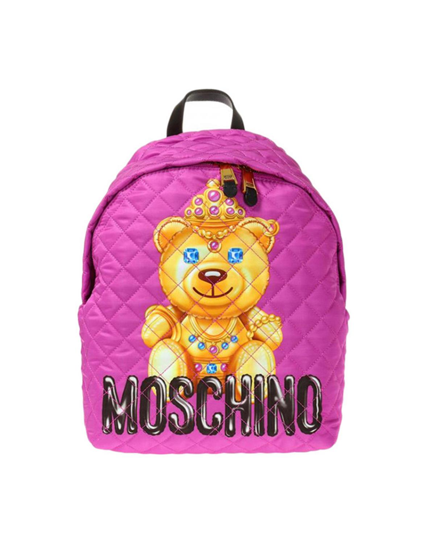 意大利MOSCHINO莫斯奇诺  粉色尼龙小熊印花菱格纹拉链开合女士双肩包 B7615-8205-1244