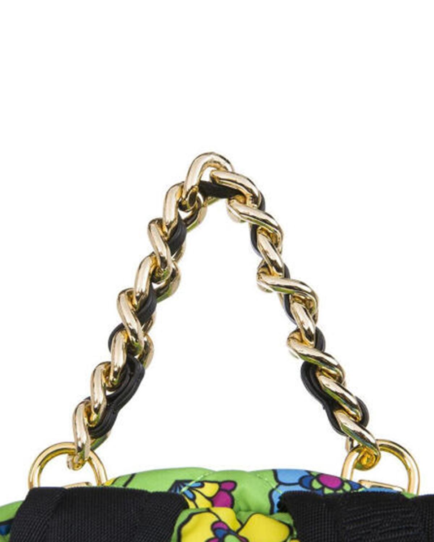 意大利MOSCHINO莫斯奇诺 绿色尼龙卡通菱格纹拉链开合女士双肩包 B7614-8204-1396