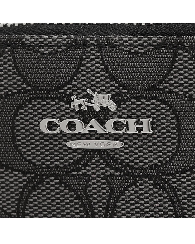 美国Coach蔻驰 灰黑色帆布牛皮拼接零钱卡包 64435-SVDK6