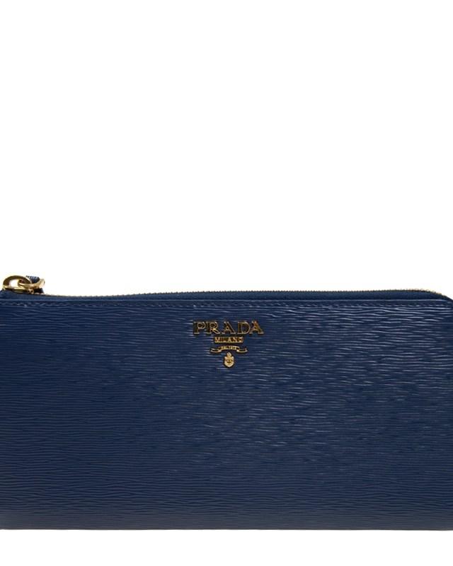 意大利 PRADA 普拉达 蓝色牛皮长款拉链女士钱包 1ML183 2EZZ F0016