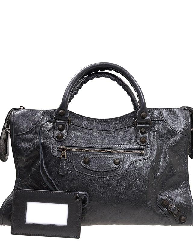 法国 BALENCIAGA 巴黎世家 灰黑色羊皮经典女士手提包 281770D94JT1160