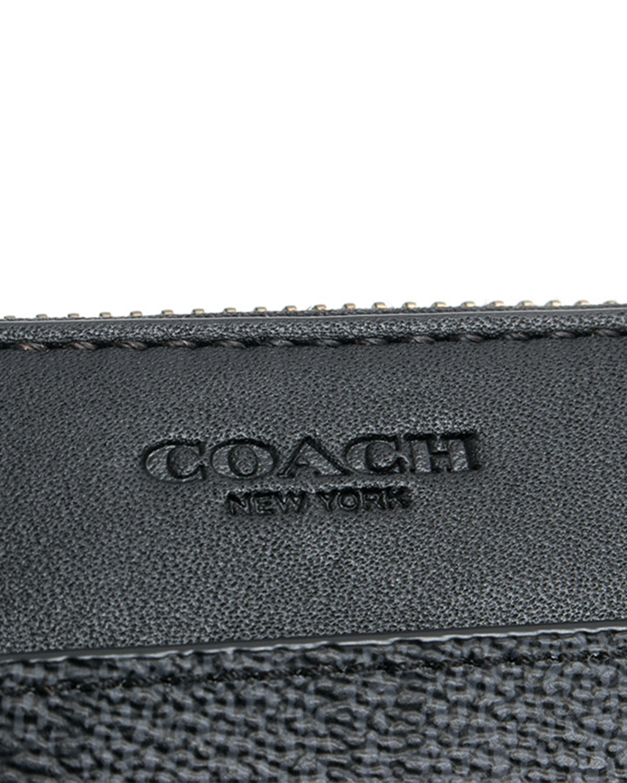 美国Coach蔻驰 黑灰色牛皮印花男士长款拉链钱包 74936-CHR