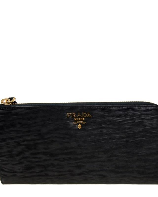 意大利 PRADA 普拉达 黑色牛皮长款拉链女士钱包 1ML183 2EZZ F0002