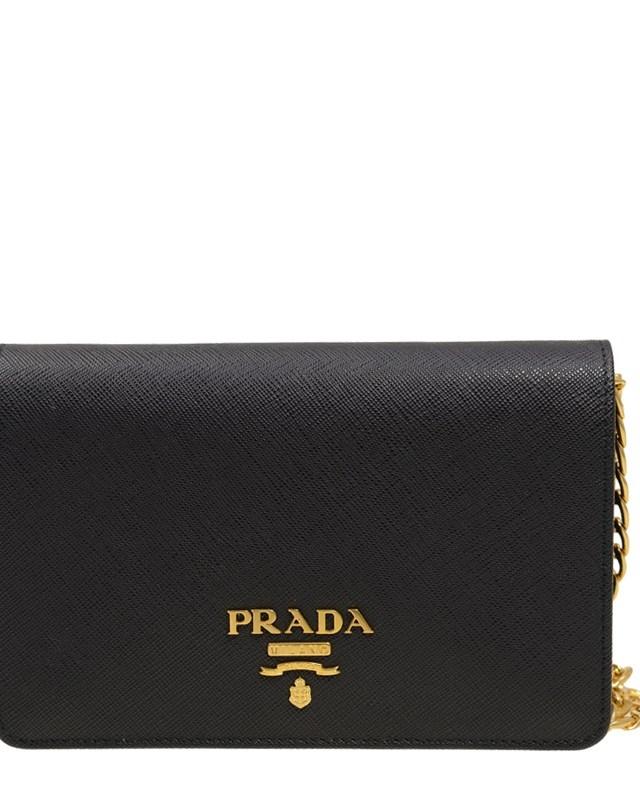 意大利 PRADA 普拉达 黑色牛皮女士斜挎包 1BP006 NZV F0002