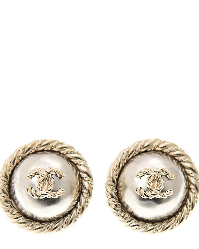 法国 CHANEL 香奈儿 金银色双C复古女士耳环 A85808