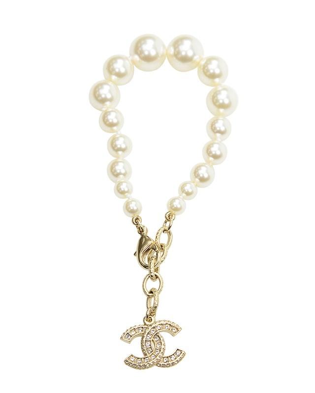 法国 CHANEL 香奈儿 金色金属珍珠女士手链 A86499