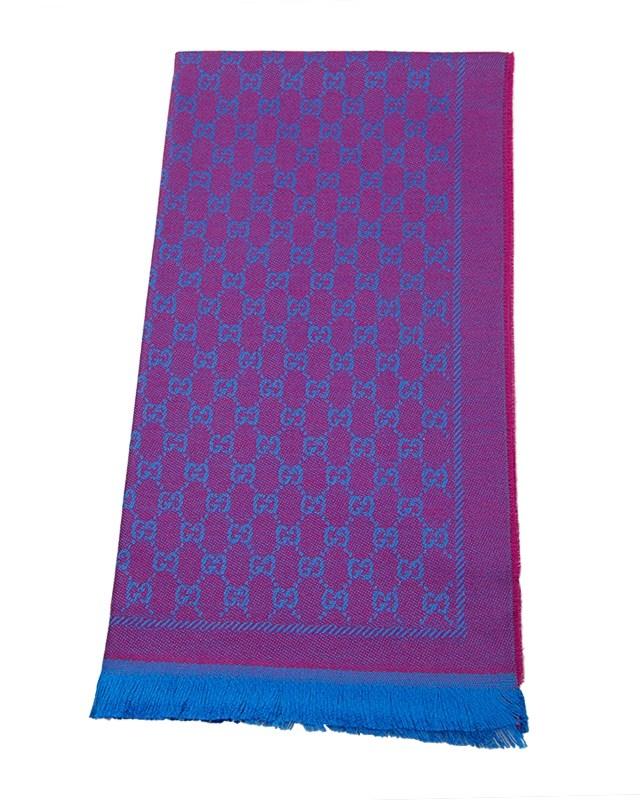意大利 GUCCI 古驰 紫蓝色双G印花羊毛围巾 411115 3G200 5669