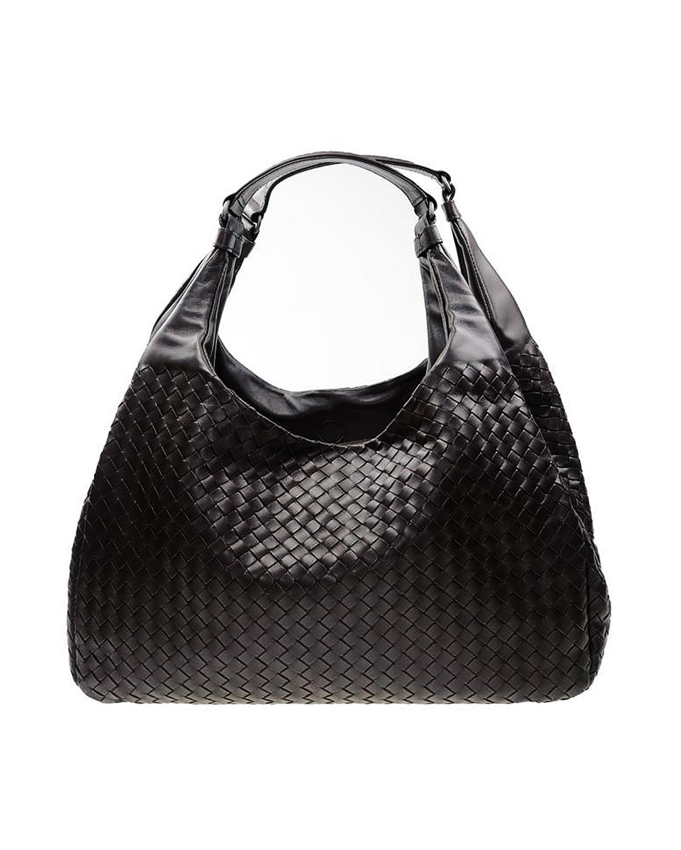 意大利 Bottega Veneta 宝缇嘉黑色羊皮大号编织手提包