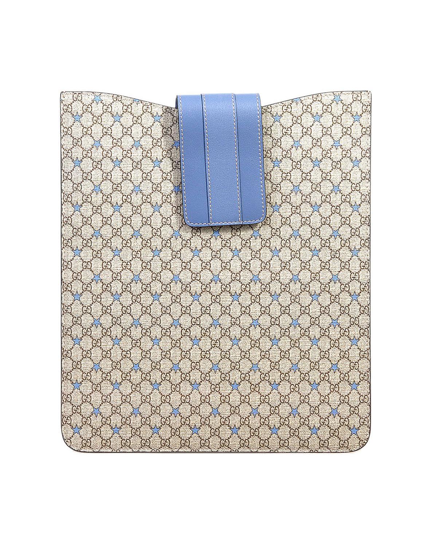 意大利 Gucci 古驰 宝石蓝皮扣棕色达人必备款真皮时尚IPAD袋