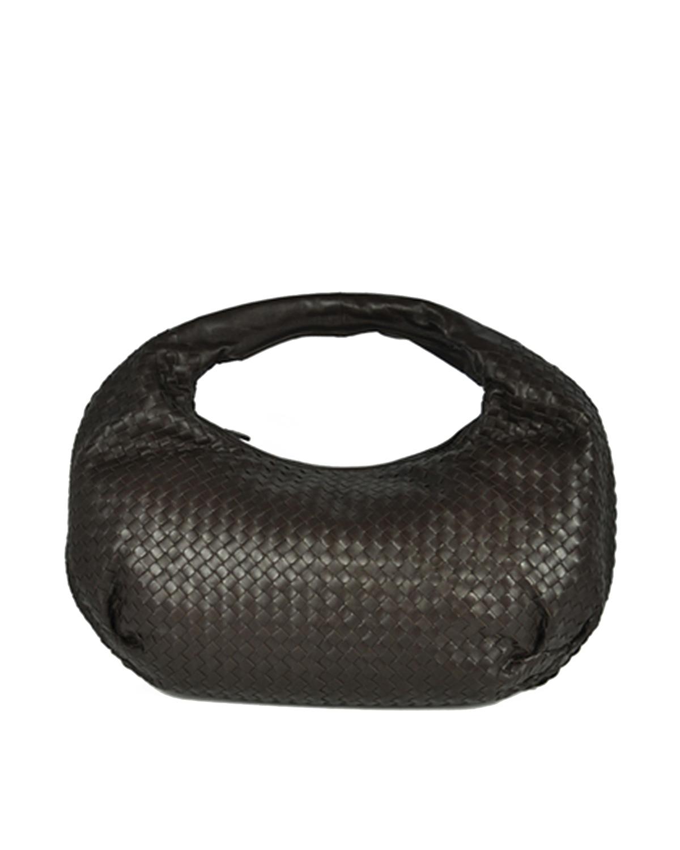 意大利 Bottega Veneta 宝缇嘉深啡色羊皮加大号半月编织手提包