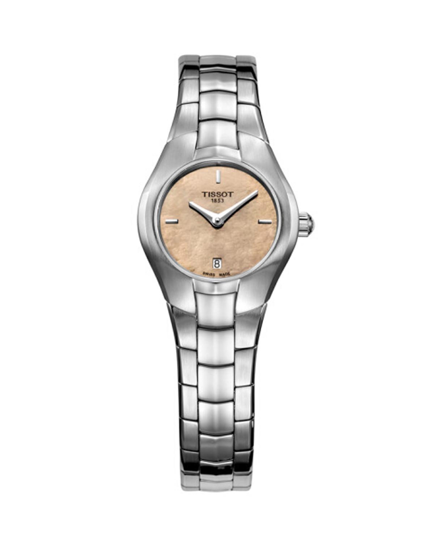 瑞士 Tissot 天梭 T-LADY系列时尚流线型精钢石英女石手表 T096.009.11.431.00