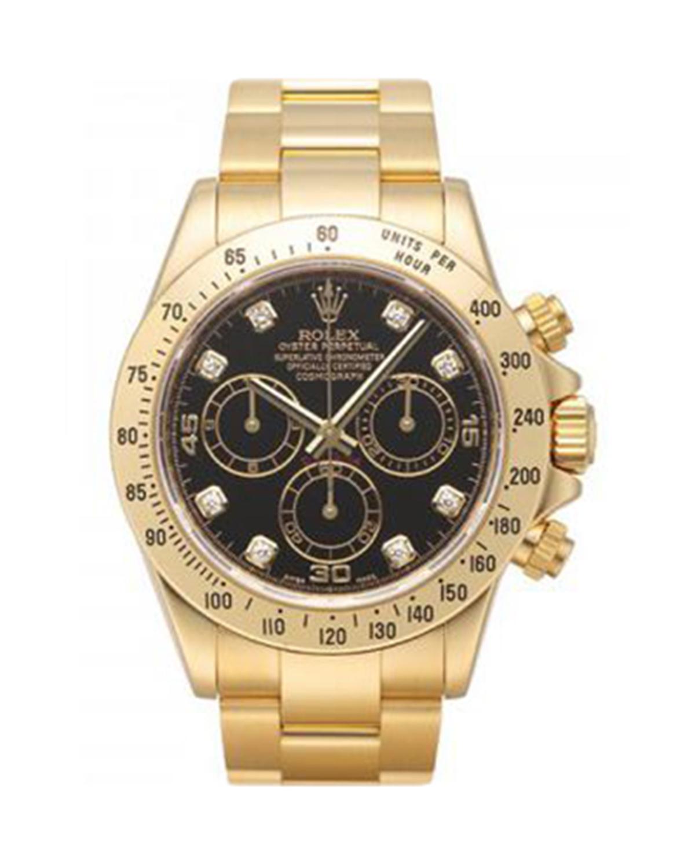 Rolex 劳力士 Daytona 18K黄金蚝式万年历 黑色钻石表盘男士腕表 116528bkd