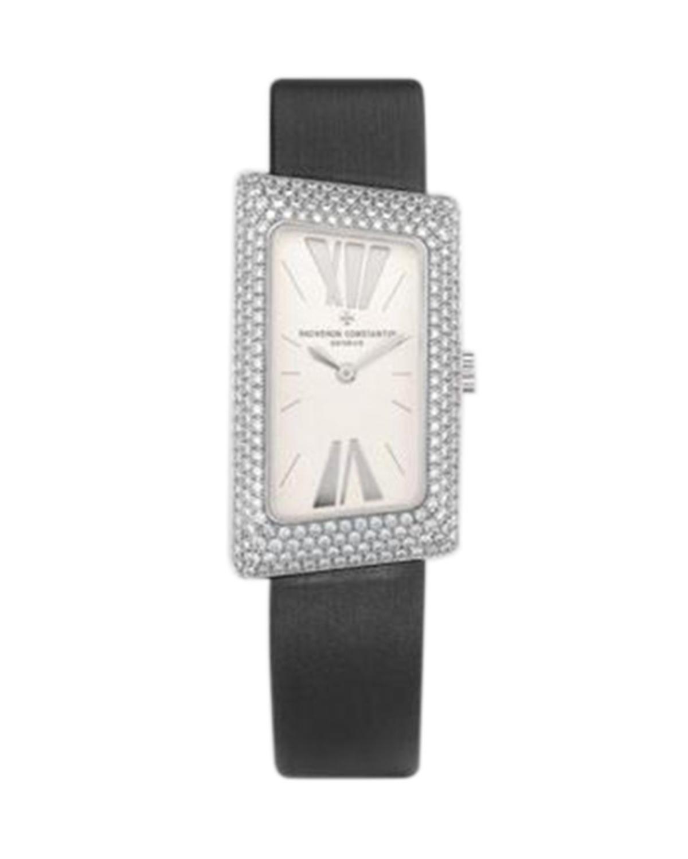 Vacheron Constantin 江诗丹顿 1972 18K白金加纯天然钻石 黑色纱丁石英女士腕表 25515000G9233