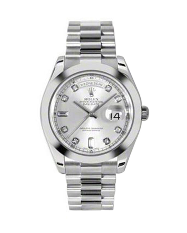 Rolex 劳力士 Day Date II President铂金蚝式万年历银色纯天然钻石机械男士腕表 218206sdp
