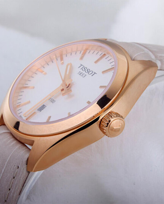 瑞士名表 Tissot 天梭 PR100系列优雅时尚玫瑰金女士石英腕表T101.210.36.031.00