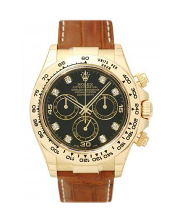 Rolex 劳力士 Daytona 18K黄金蚝式万年历 黑色的钻石表盘男士腕表 116518bkdbr