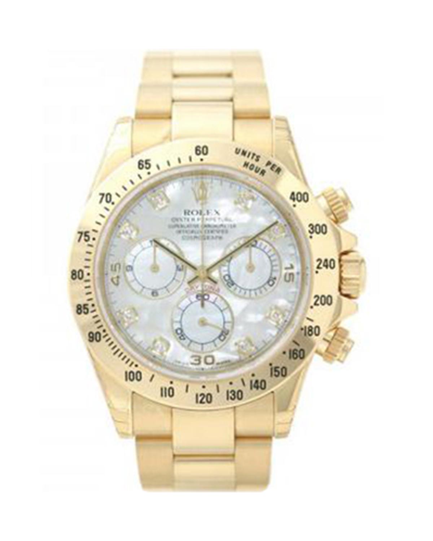 Rolex 劳力士 Daytona 18K黄金珍珠母贝表盘锁扣表带纯天然钻石石英男士腕表 116528md