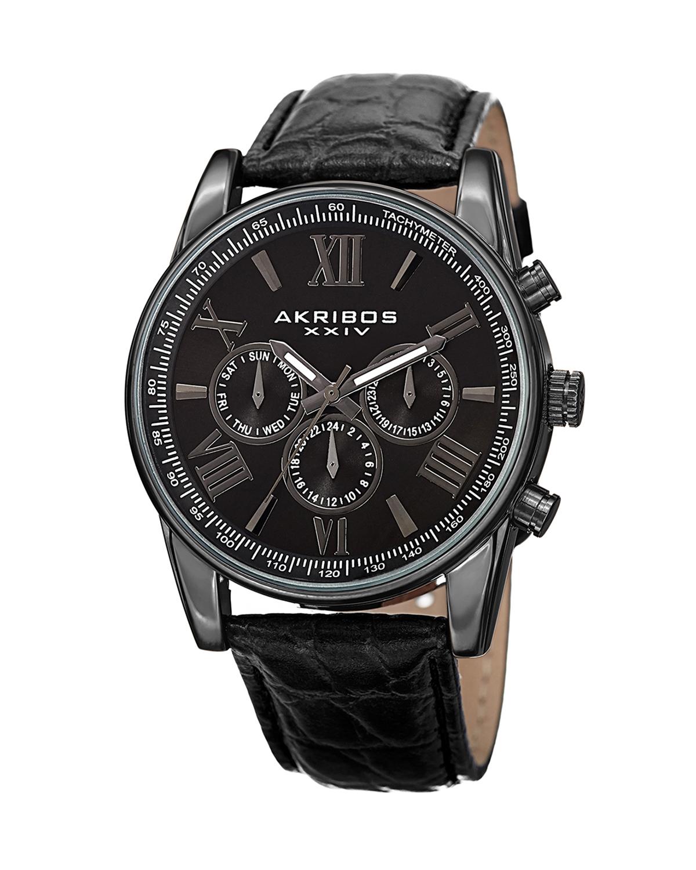 Akribos XXIV 阿克波斯 黑色真皮全黑表盘计时男士石英腕表 AK864BK