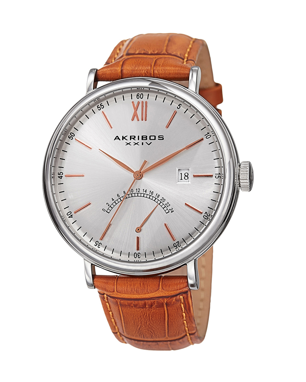 Akribos XXIV 阿克波斯 棕色表带银色精钢表盘男士石英腕表 AK845SSBR