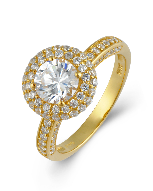 Celine Fang  赛琳·方925银镀黄金锆石戒指