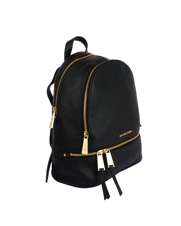 美国原装进口 Michael Kors 迈克高仕 黑色牛皮女士拉链开合学院双肩包 30S5GEZB1L-BLACK