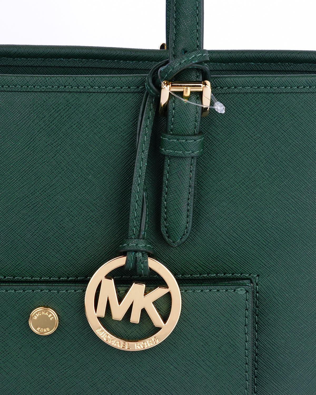 美国 Michael Kors迈克高仕 墨绿色牛皮十字纹女士拉链开合单肩手提包 30S6GTT-T2L-MOSS