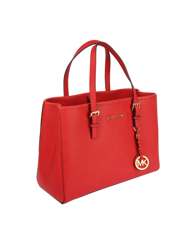 美国 Michael Kors迈克高仕 红色牛皮十字纹女士拉链开合单肩手提包 30H3GTV-T8L-BRIGHT RED