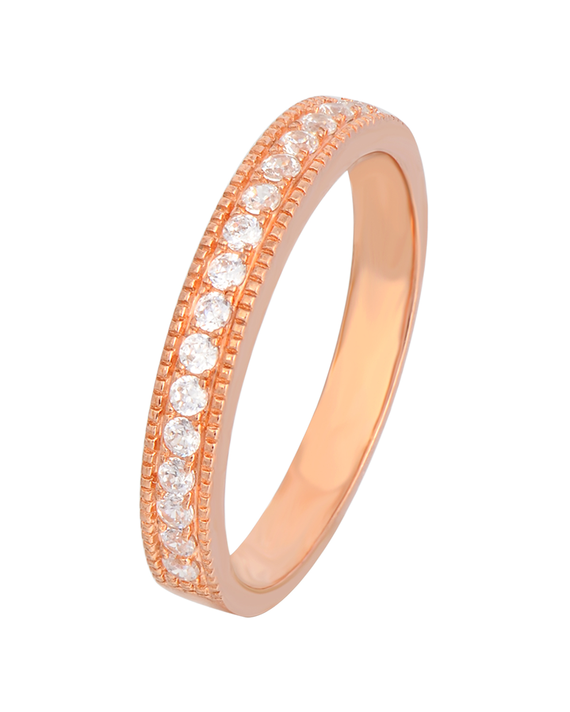 Celine Fang 赛琳·方 925银镀玫瑰金锆石情侣戒指