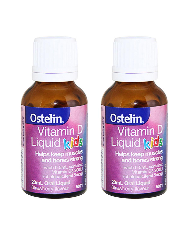 澳大利亚 Ostelin VD 婴儿童液体维生素D滴剂补钙草莓味20ml 2件装