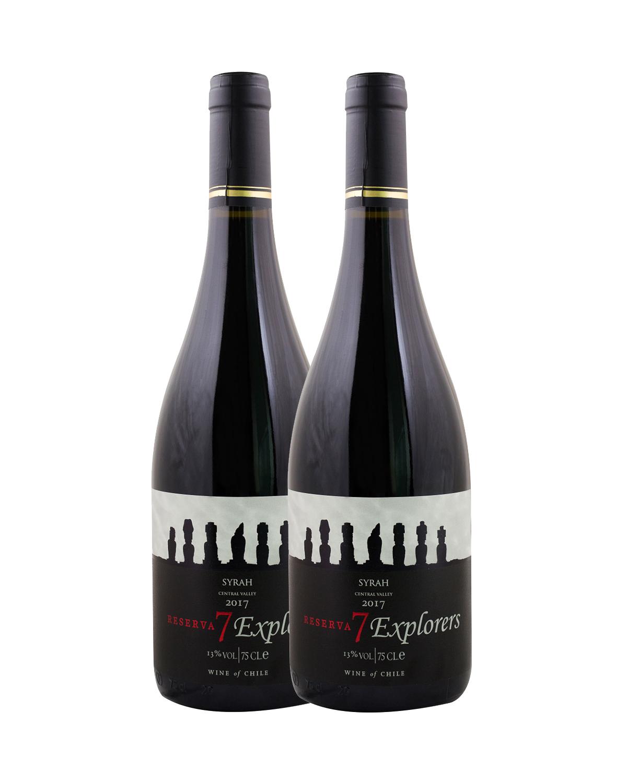 智利原装进口 库里克山谷产区 7个人珍藏西拉2016红葡萄酒 750ml 13%vol. 珍藏级 x2支
