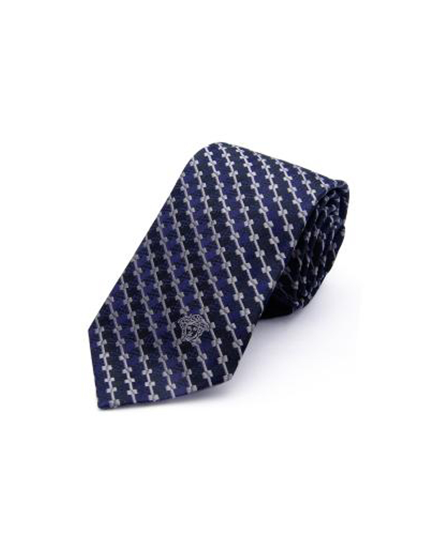 意大利 Versace 范思哲 绅士品质蓝黑色真丝格纹男士商务领带