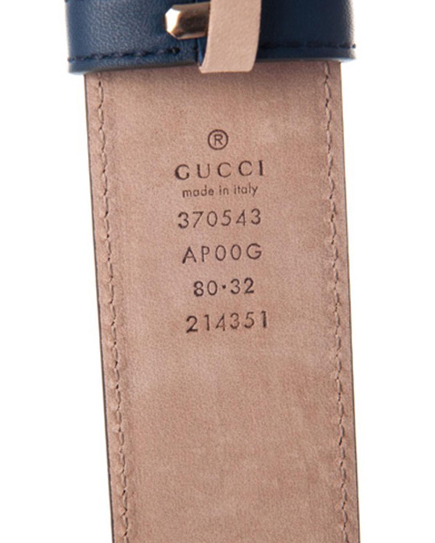 意大利 GUCCI 古驰 蓝色小牛皮女士腰带 370543 AP00G 4134