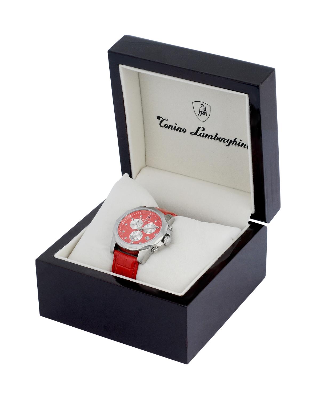 大牌尊享 Tonino Lamborghini 兰博基尼时尚个性红色316L精钢0.05克拉钻石男士石英腕表 EN033DL.104