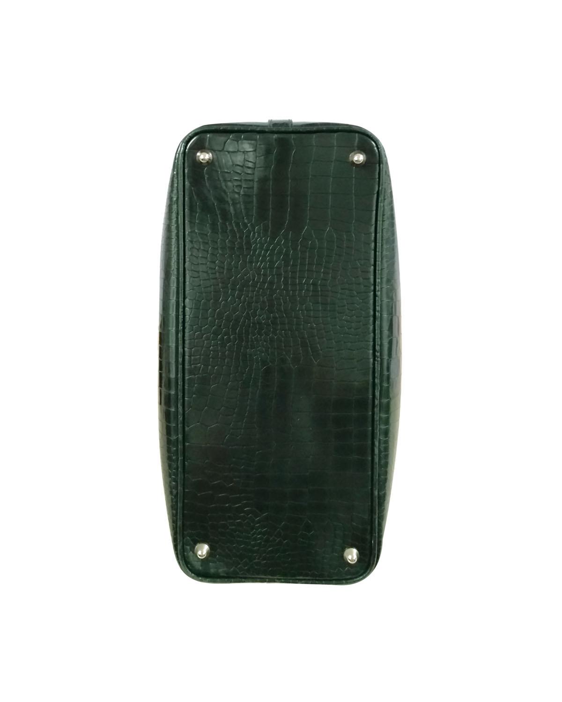 意大利 Versace 范思哲 深绿色真皮手提包 LBF0352 LSC L310C