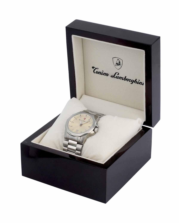 大牌尊享 Tonino Lamborghini 兰博基尼简约休闲银色316L精钢男士计时机芯腕表 EN033.206