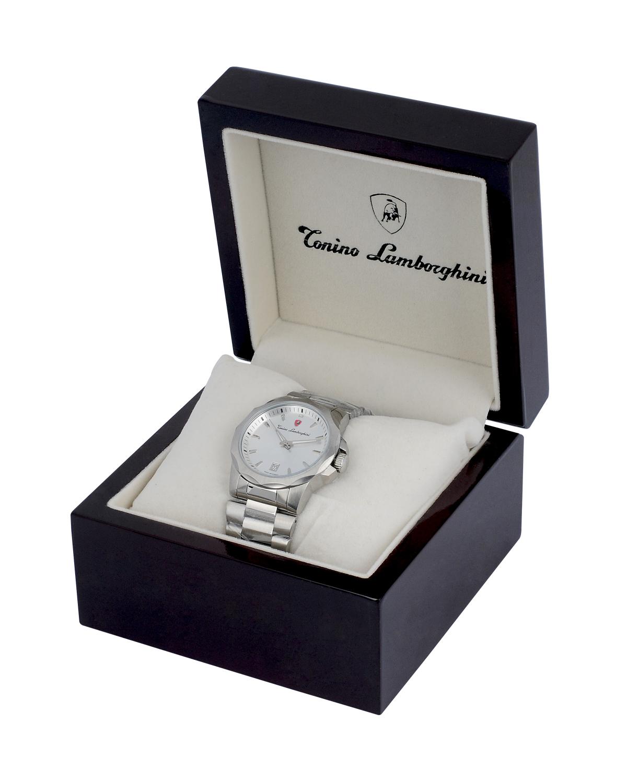Tonino Lamborghini 兰博基尼银色316L精钢男士石英机芯腕表 EN033.202