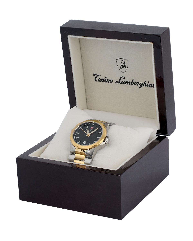 瑞士机芯 Tonino Lamborghini 兰博基尼 金色316L精钢男士计时石英腕表 EN033.401