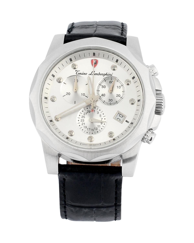 瑞士机芯 Tonino Lamborghini 兰博基尼银色316L精钢镶钻石男士三眼日历计时防水石英腕表 EN033DL.102