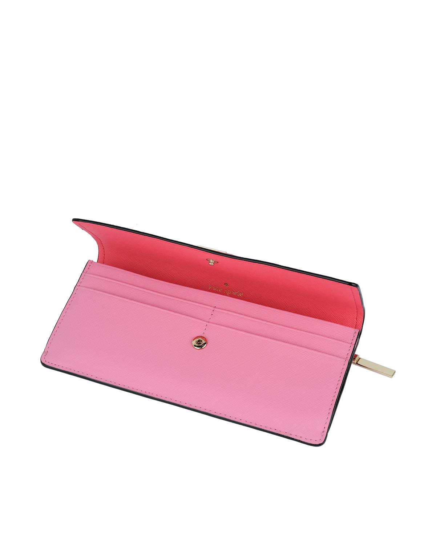 美国原装进口 Kate Spade 凯特丝蓓 粉色拼色女士长款钱包 PWRU5532-653-BRTFL