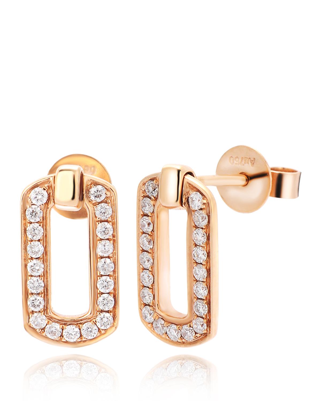 香港 ARTSY FINE JEWELLERY 18k玫瑰金 0.118克拉钻石镶嵌长方形女士耳饰